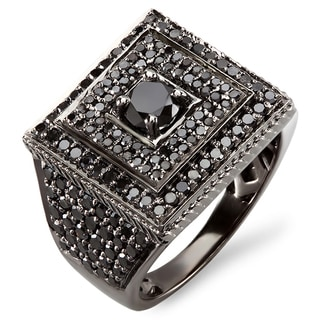 10k White Gold 4ct TDW Men's Black Diamond Ring