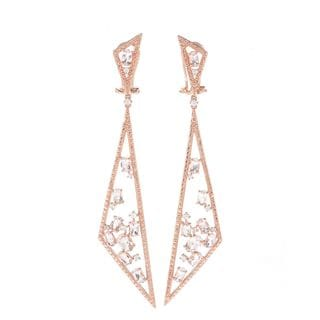 18k Rose Gold Vermeil Over Silver Morganite and White Zircon Triangle Drop Earrings