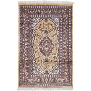 ecarpetgallery Kashmir Yellow Silk Rug (3'10 x 5'11)