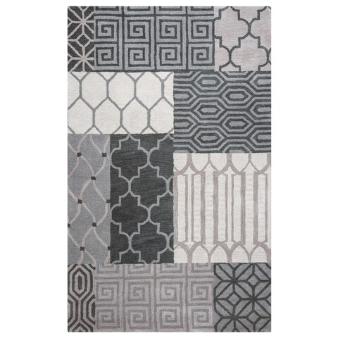 Rizzy Home Palmer Collection Grey Patchwork Area Rug - Multi - 9' x 12'