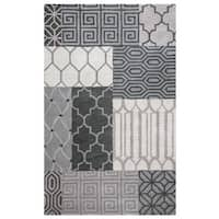 Rizzy Home Palmer Collection Grey Patchwork Area Rug (9' x 12') - 9' x 12'