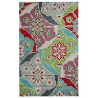 Rizzy Home Pandora Collection Multicolored Floral Accent Rug - 3' x 5'