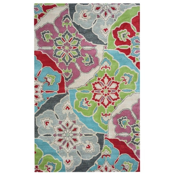 Rizzy Home Pandora Collection Multicolored Floral Accent Rug - Red - 3' x 5'
