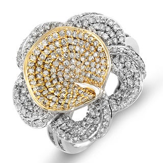 Elora 14k White and Yellow Gold 1 1/4ct TDW Diamond Flower Cocktail Right Hand (H-I, I1-I2)