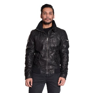 Excelled Men's Leather Bomber with Knit Trim