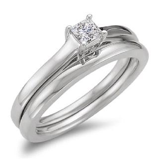 Elora 14k White Gold 1/3ctTDW Princess Diamond Bridal Solitaire Engagement Ring