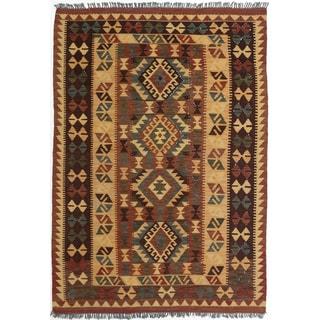 ecarpetgallery Anatolian Kilim Brown and Yellow Wool Kilim (4'2 x 5'11)