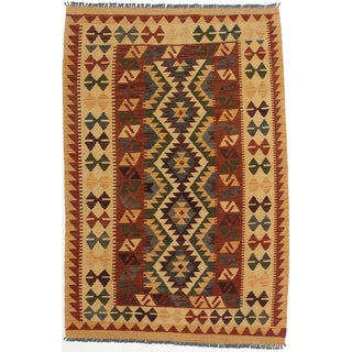 ecarpetgallery Anatolian Kilim Red and Yellow Wool Kilim (3'5 x 5'1)