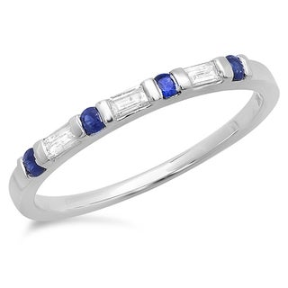 Elora 10k White Gold 1/4ct Round Blue Sapphire and White Baguette Diamond Stackable Band (I-J, I2-I3)