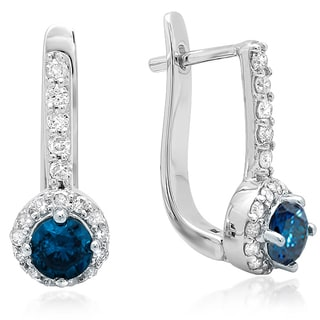 Elora 14k White Gold 1ct TDW Round Blue and White Diamond Fine Halo Hoop Earrings (H-I, I1-I2)