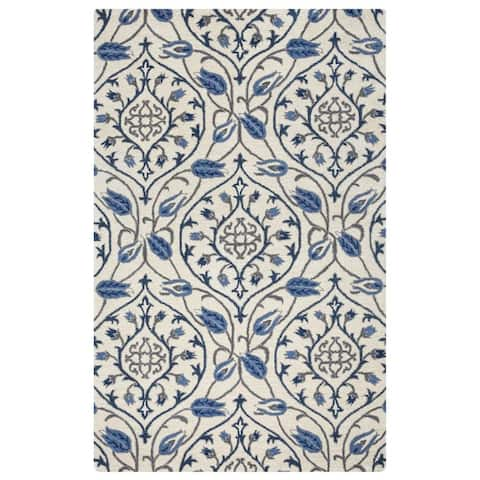 Liberty Collection Dark Blue Floral Rug