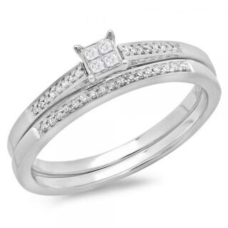 Elora 10k White Gold 1/5ct TDW Diamond Bridal Promise Engagement Ring