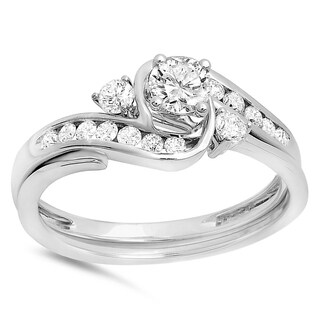 Elora 10k White Gold 3/4ct TDW Round-cut Diamond Swirl Bridal Engagement Ring (I-J, I1-I2)