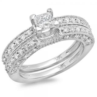 14k White Gold 1 1/2ct TDW Princess and Round Diamond Solitaire Engagement Ring Set (H-I, I1-I2)