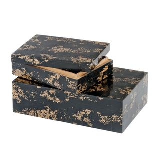 Huseo Negro Golden Bone Boxes (Set of 2)