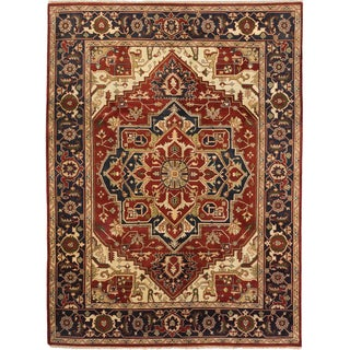 ecarpetgallery Serapi Heritage Blue and Orange Wool Rug (8'11 x 12'0)