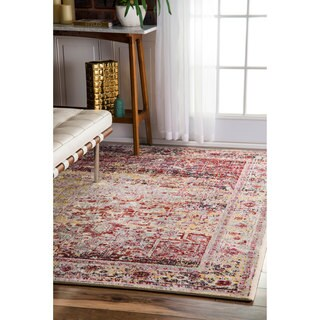 nuLOOM Vintage Ornate Persian Medallion Light Pink Rug - 5'3 x 7'9
