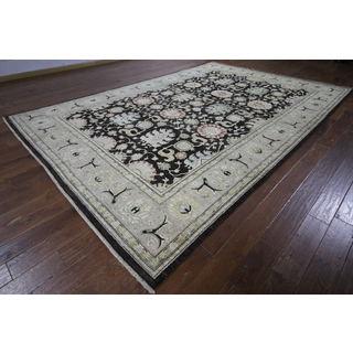 H9424 Brown Wool Oushak Peshawar Chobi Oriental Area Rug (9' x 13')