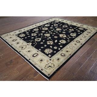 H9385 Black Wool Oushak Peshawar Chobi Hand-knotted Area Rug (7' x 8')