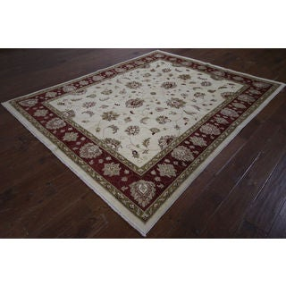 H9387 Ivory/ Red Wool Oushak Peshawar Chobi Hand-knotted Rug (7' x 8')
