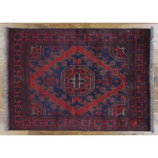 H9433 Blue Wool Bokhara Tribal Geometric Hand-knotted Area Rug (4' x 5')