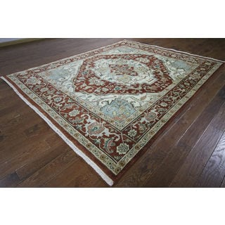 H9520 Red Wool Serapi Heriz Oriental Hand-knotted Rug (9' x 10')