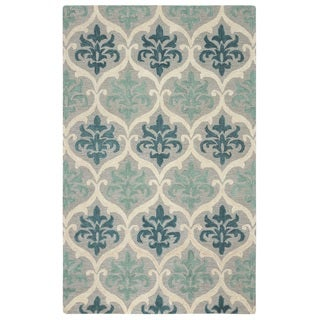 Rizzy Home Lancaster Collection Hand-tufted Blue Trellis Area Rug (8' x 10')