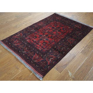 H9438 Red Wool Geometric Bokhara Oriental Hand-knotted Area Rug (4' x 5')