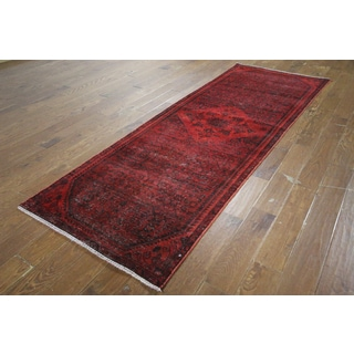 H9446 Red Wool Overdyed Hand-knotted Runner Rug (3' x 9')