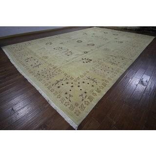 H9396 Ivory Wool Oushak Peshawar Chobi Hand-knotted Rug (12' x 18')