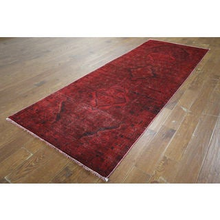 H9448 Overdyed Red Wool Oriental Hand-knotted Runner Rug (4' x 10')