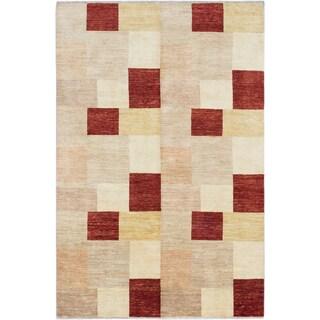 ecarpetgallery Peshawar Ziegler Beige and Orange Wool Rug (6'7 x 10'0)