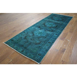 H9450 Overdyed Blue-green Wool Floral Hand-knotted Runner Rug (4' x 10')