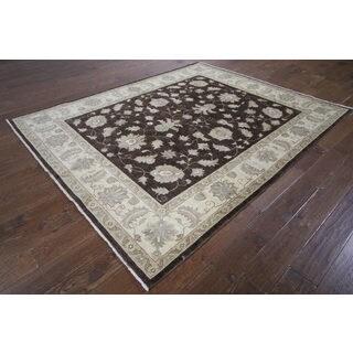 H9454 Brown Wool Oushak Peshawar Chobi Oriental Hand-knotted Rug (7' x 8')