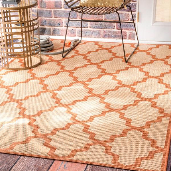Clay Alder Home Colville Moroccan Trellis Indoor/ Outdoor Brick Porch Area Rug (8'6 x 13')