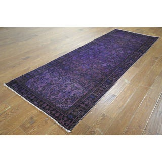 H9452 Overdyed Purple Wool Hand-knotted Runner Rug (4' x 10')