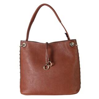 Shop Diophy Gold-toned Studded Hobo Handbag - On Sale - Free ... 471a407b8a