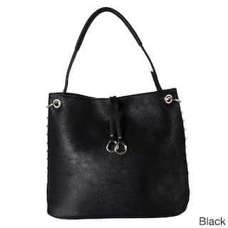 Diophy Gold Toned Studded Hobo Handbag