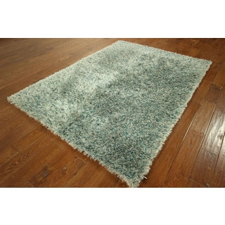 HT166-HT167 Blue Green Shag Oriental Hand-knotted Area Rug (5' x 7')