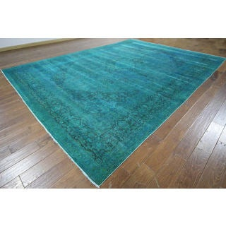 H9461 Overdyed Teal Blue Wool Floral Oriental Hand-knotted Area Rug (10' x 13')