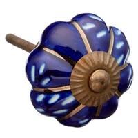 Royal Blue Engraved Ceramic Knob Pull