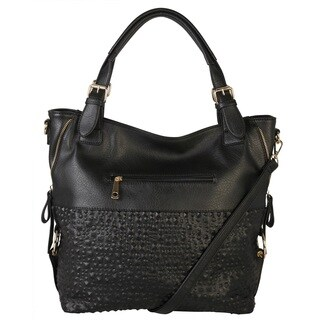 Diophy Bubble Surface Double Side Zippers Hobo Handbag