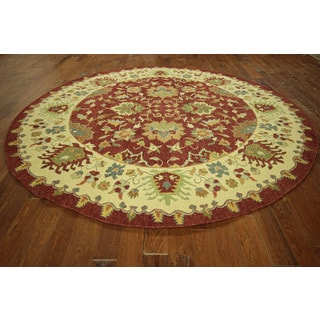HT613 Red and Ivory Wool Soumak Round Oriental Rug (10' Round)