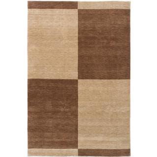 ecarpetgallery Luribaft Gabbeh Riz Beige and Brown Wool Rug (6'7 x 9'9)