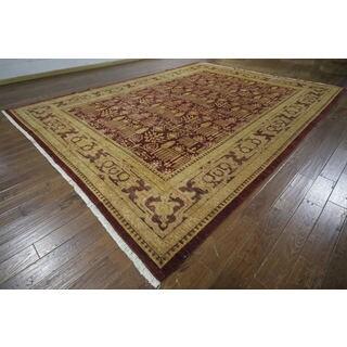 H9471 Burgundy Wool Oushak Peshawar Chobi Hand-knotted Area Rug (11' x 14')