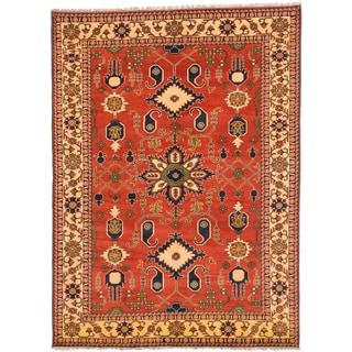 ecarpetgallery Finest Kargahi Brown Wool Rug (7'0 x 9'7)