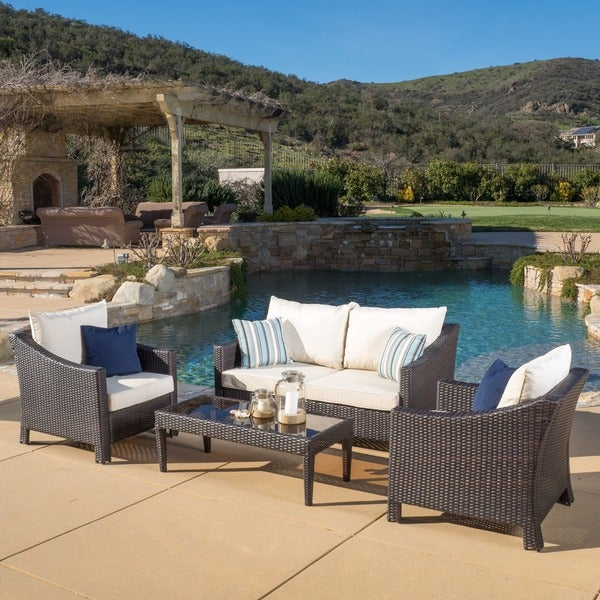 Antibes Outdoor 4 Piece Wicker Chat Set With Cushions By Christopher Knight  Home
