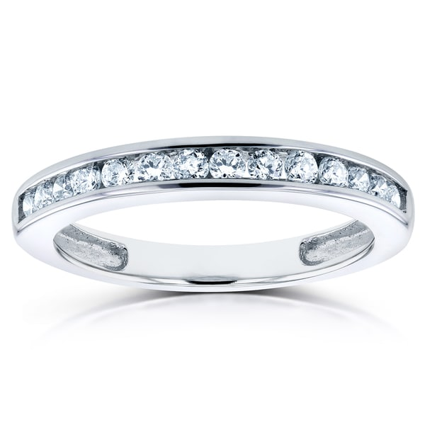 Annello by Kobelli 14k White Gold 1/4ct TDW Round Channel Diamond Band