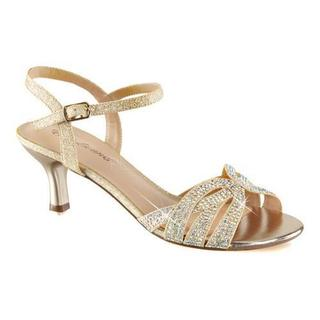 Women's Fabulicious Audrey 03 Ankle Strap Sandal Nude Shimmering Fabric (More options available)