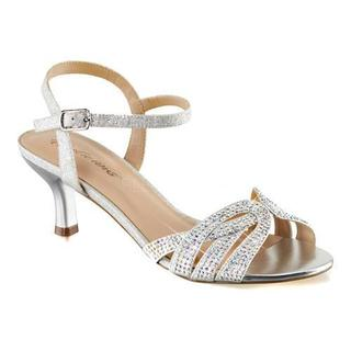 Women's Fabulicious Audrey 03 Ankle Strap Sandal Silver Shimmering Fabric